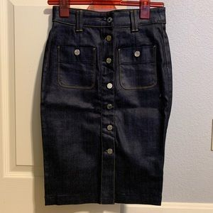 NWOT 7 For All Mankind Button Down Denim Skirt